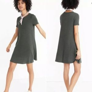 Madewell Ribbed swing dress in olive green
